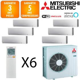Mitsubishi Sextuple-split MXZ-6F122VF + 4 X MSZ-EF18VGKS + 2 X MSZ-EF35VGKS